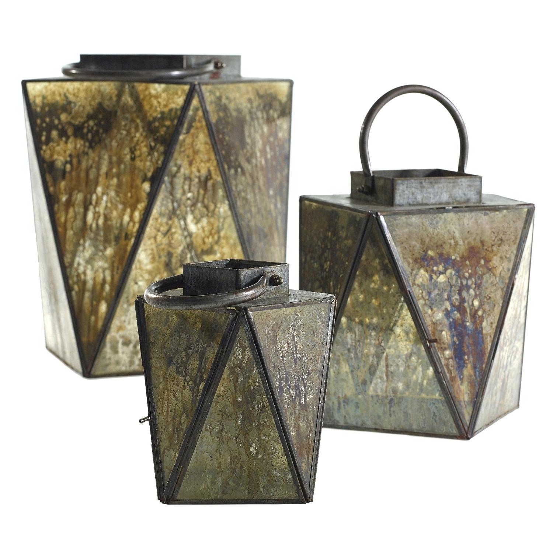 Fleurish Home Sm Elusive Antiqued Glass Lantern