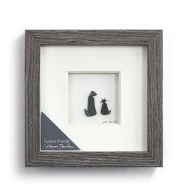"Fleurish Home Furever Friends Pebble Art  6"" Square"