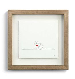 Johanna Miller Cat Love Sewn Paper Art  9.5x9.5
