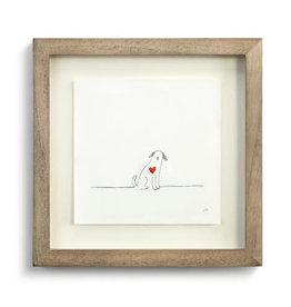 Johanna Miller Dog Love Sewn Paper Art  9.5x9.5