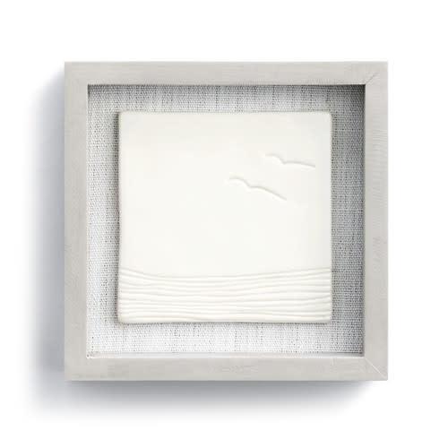 "Fleurish Home Calming Tides Framed Ceramic Art 6"" Square"