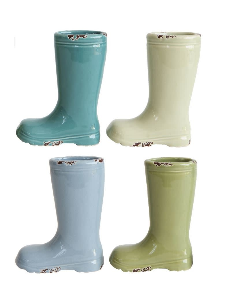 "Fleurish Home Mini Stoneware Boot Vase (Choice of 4 Colors) 4"" Tall"
