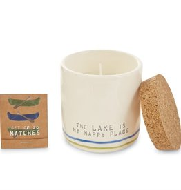 Mudpie HAPPY LAKE CANDLE WITH MATCHES