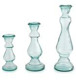 Mudpie LARGE GLASS CANDLESTICK PILLAR CANDLE HOLDER
