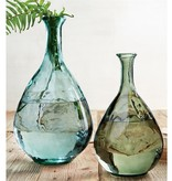 Mudpie LARGE TEXTURED VASE (ARUBA BLUE GLASS)