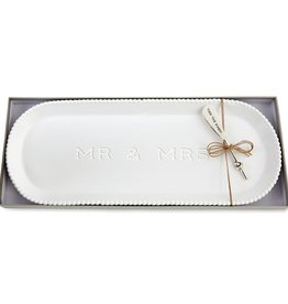 Mudpie MR MRS BEADED HOSTESS TRAY SET