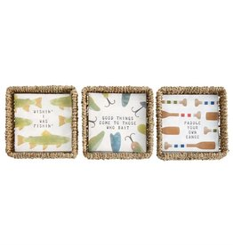 Mudpie PADDLE PAPER NAPKINS IN BASKET