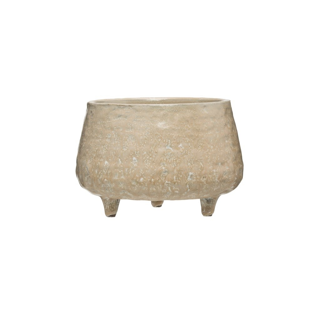 Lg Beige Reactive Glaze Stoneware Footed Planter (each one will vary)