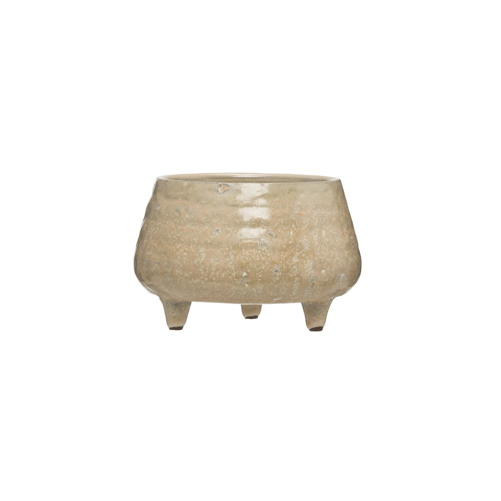 Sm Beige Reactive Glaze Stoneware Footed Planter (each one will vary)