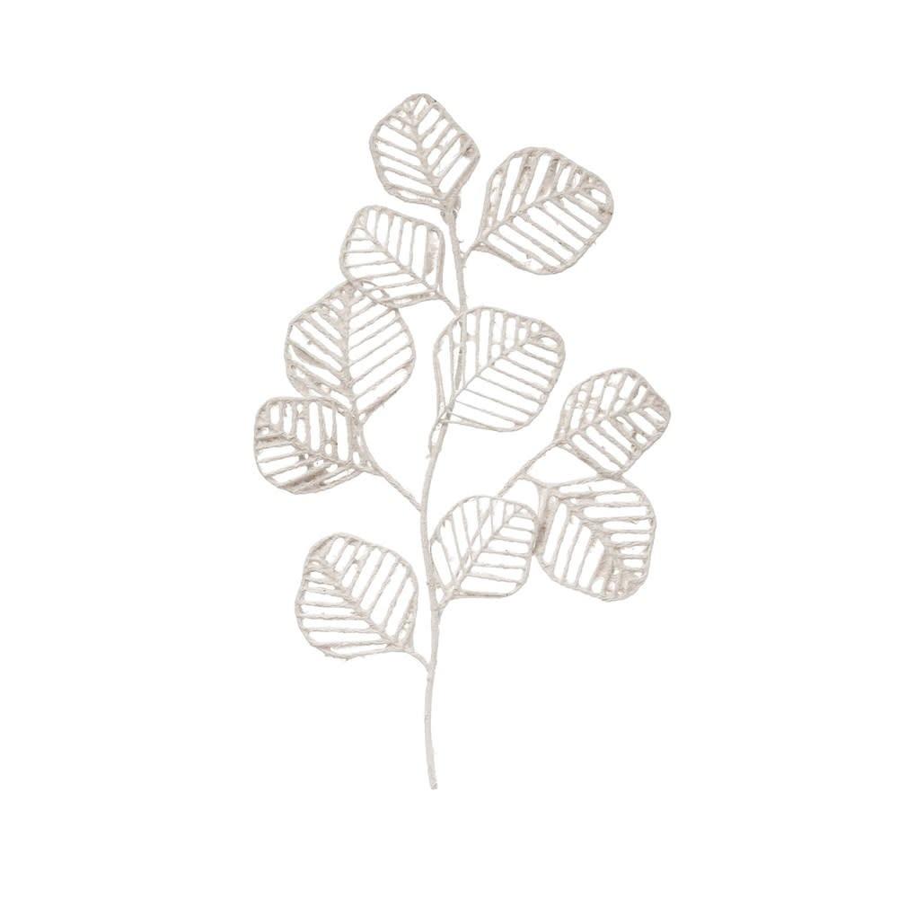 Metal & Handmade Paper Leaf Wall Decor, White