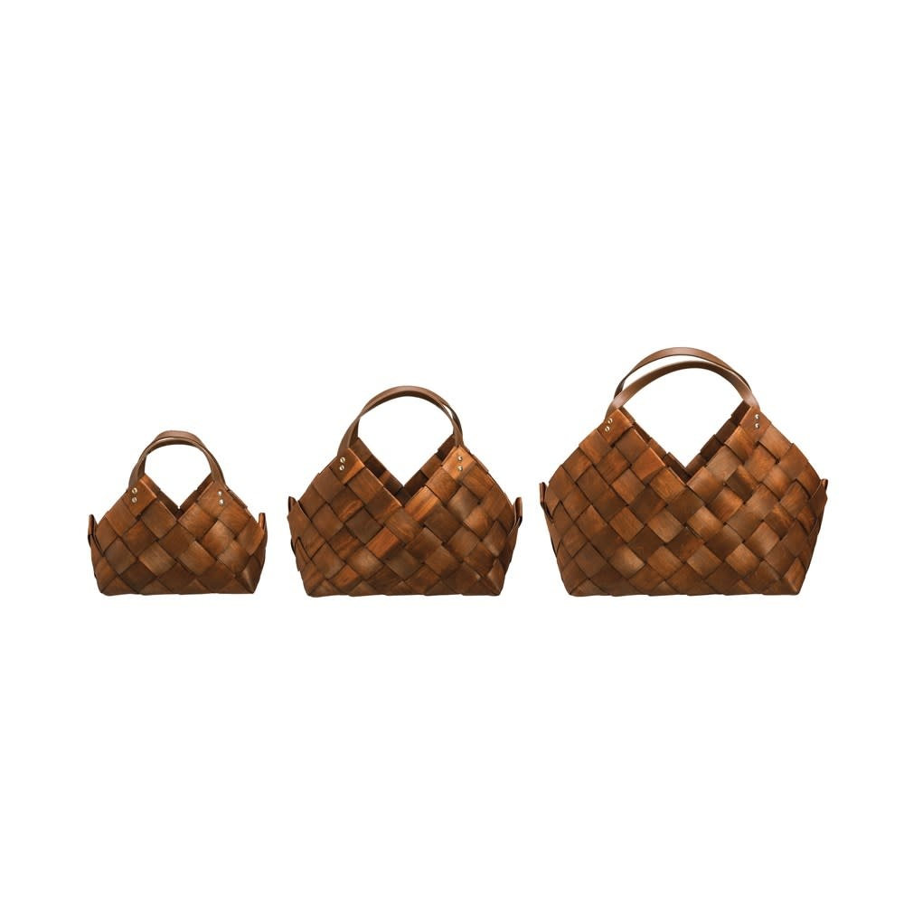 Sm Woven Seagrass Basket w/ Leather Handles