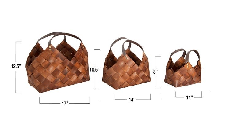 Med Woven Seagrass Basket w/ Leather Handles