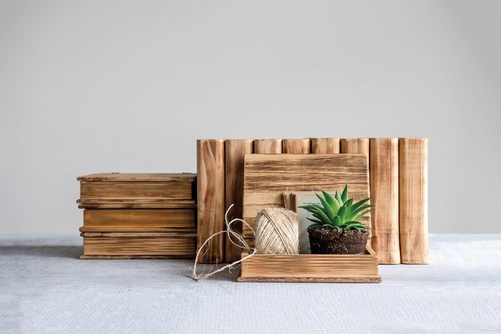 Fleurish Home Wood Book Storage Box