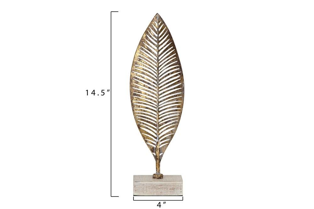 Sm Gold Finish Metal Leaf w/ Wood Base