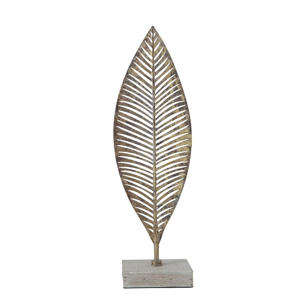 Lg Gold Finish Metal Leaf w/ Wood Base