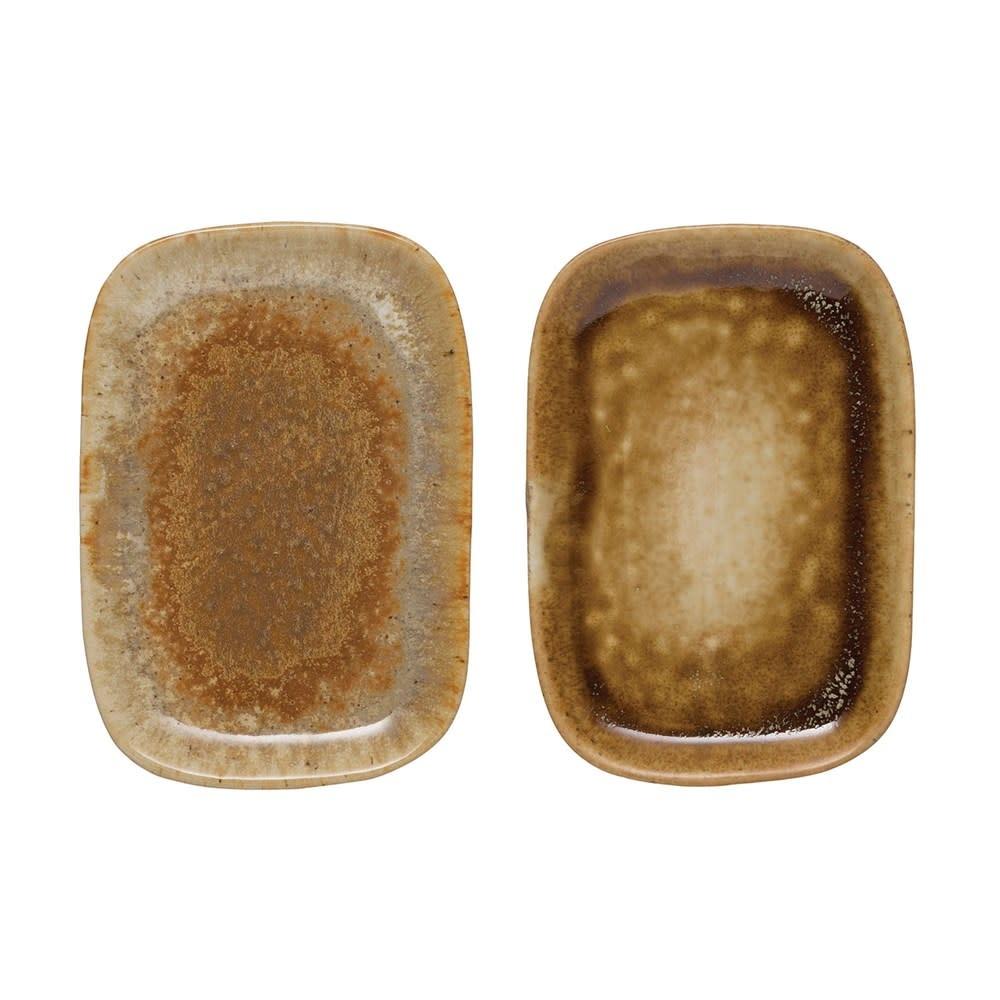 Reactive Glaze Stoneware Dish (Each One Will Vary)