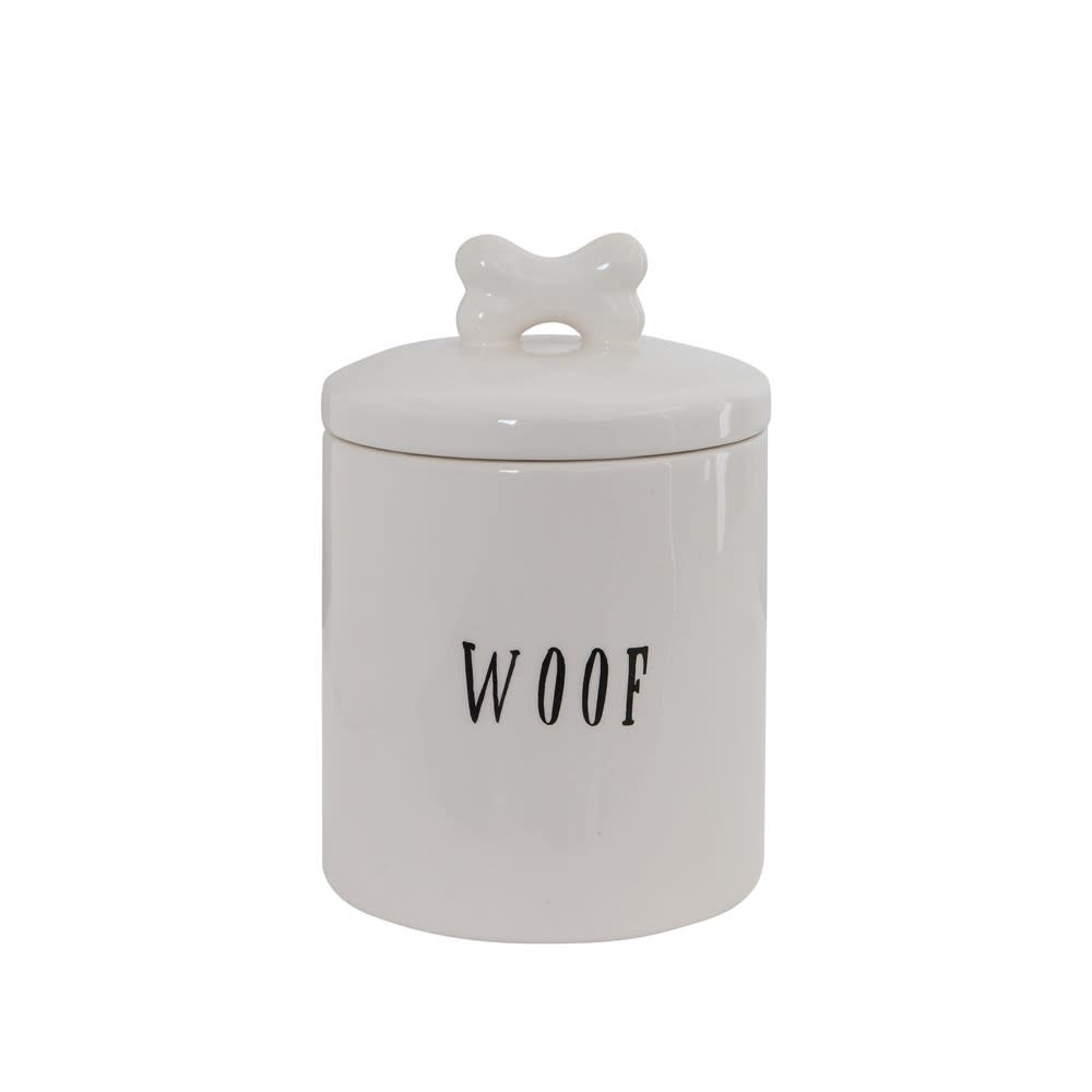 Ceramic WOOF Treat Jar w Bone Handle Lid