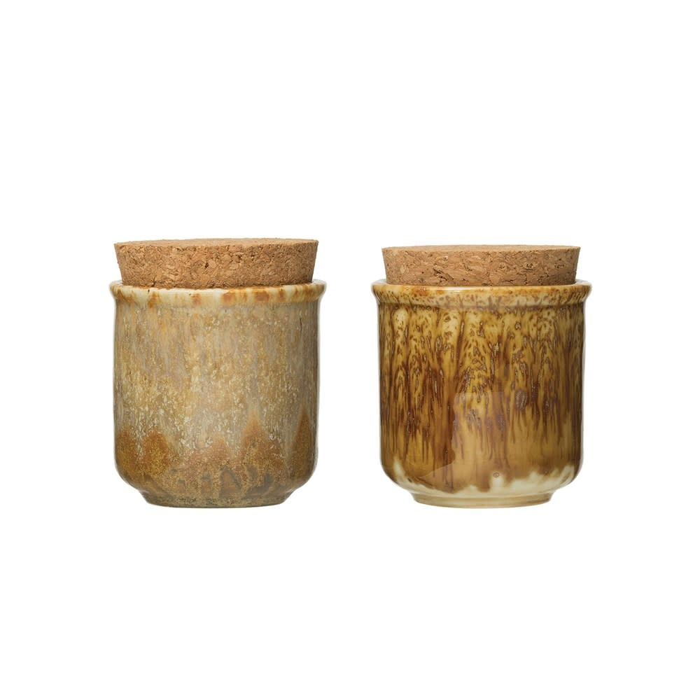 Reactive Glaze Stoneware Jar w/ Cork Lid (Each One Will Vary)
