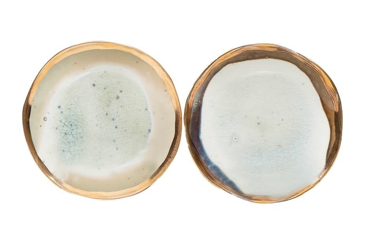 """Reactive Glaze Ceramic Plate w/ Gold Electroplating 5""""  (Each One Will Vary)"""