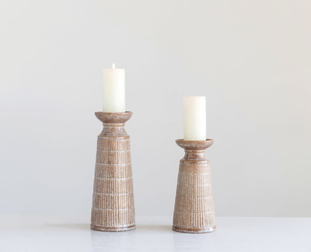 Lg Beige Reactive Glaze Stoneware Candle Holder (Each One Will Vary)