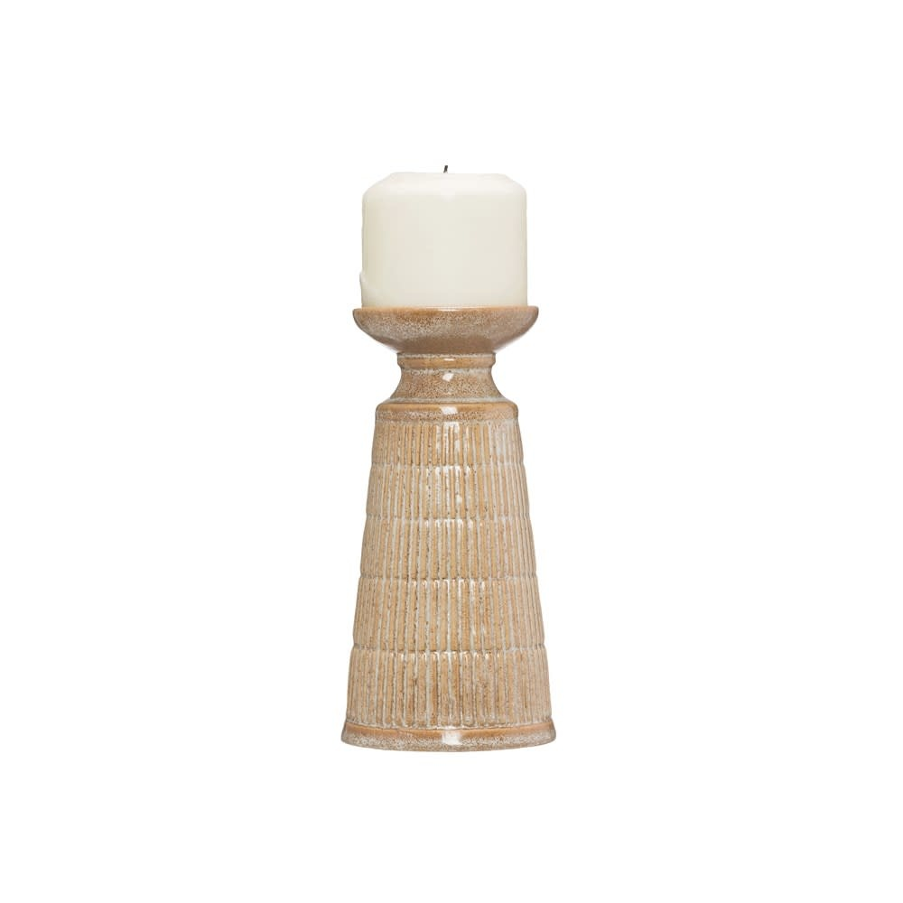 Sm Beige Reactive Glaze Stoneware Candle Holder (Each One Will Vary)