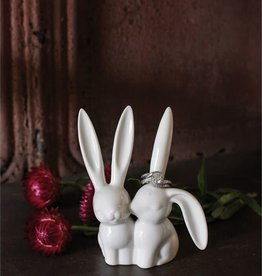 Fleurish Home White Ceramic Bunny Rabbit Figurine & Ring Holder