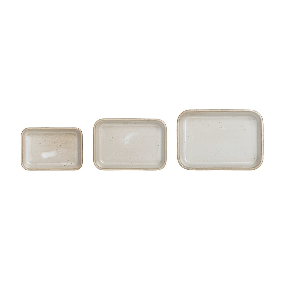 Med Beige Reactive Glaze Stoneware Dish (Each One Will Vary)
