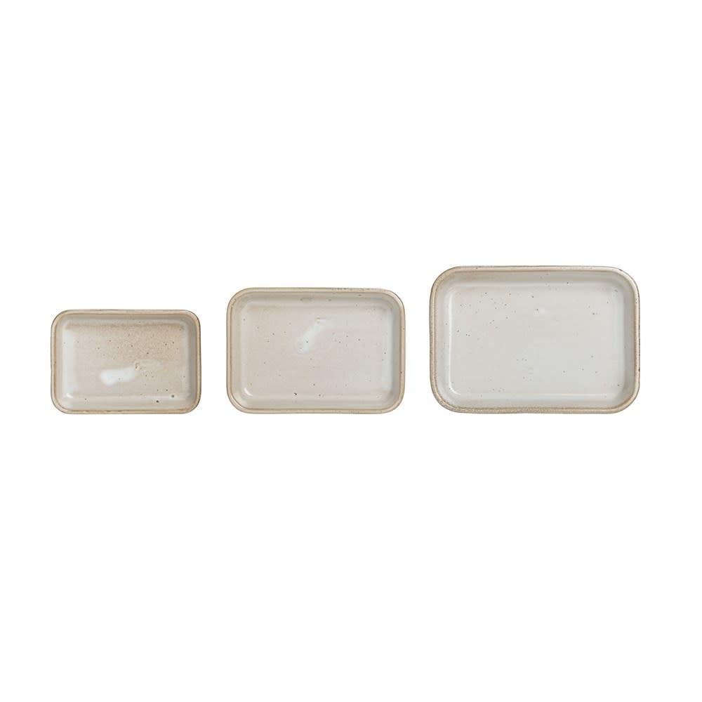 Lg Beige Reactive Glaze Stoneware Dish (Each One Will Vary)