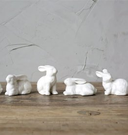 Fleurish Home Mini White Ceramic Bunny (choice of 6 styles)