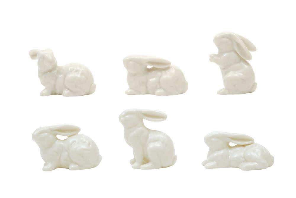 Fleurish Home Mini White Ceramic Bunny (choice of 6 styles)