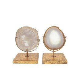 Natural Agate Decor on Stand (Each Will Vary)