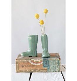 Spring Green Stoneware Boot Vase