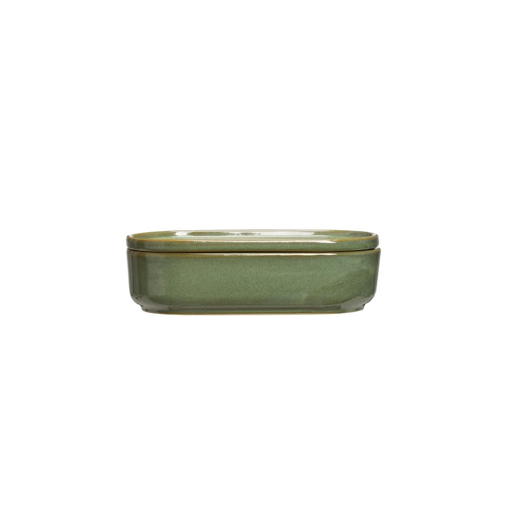 Green Reactive Glaze Stoneware Container w/Lid (Each One Will Vary)
