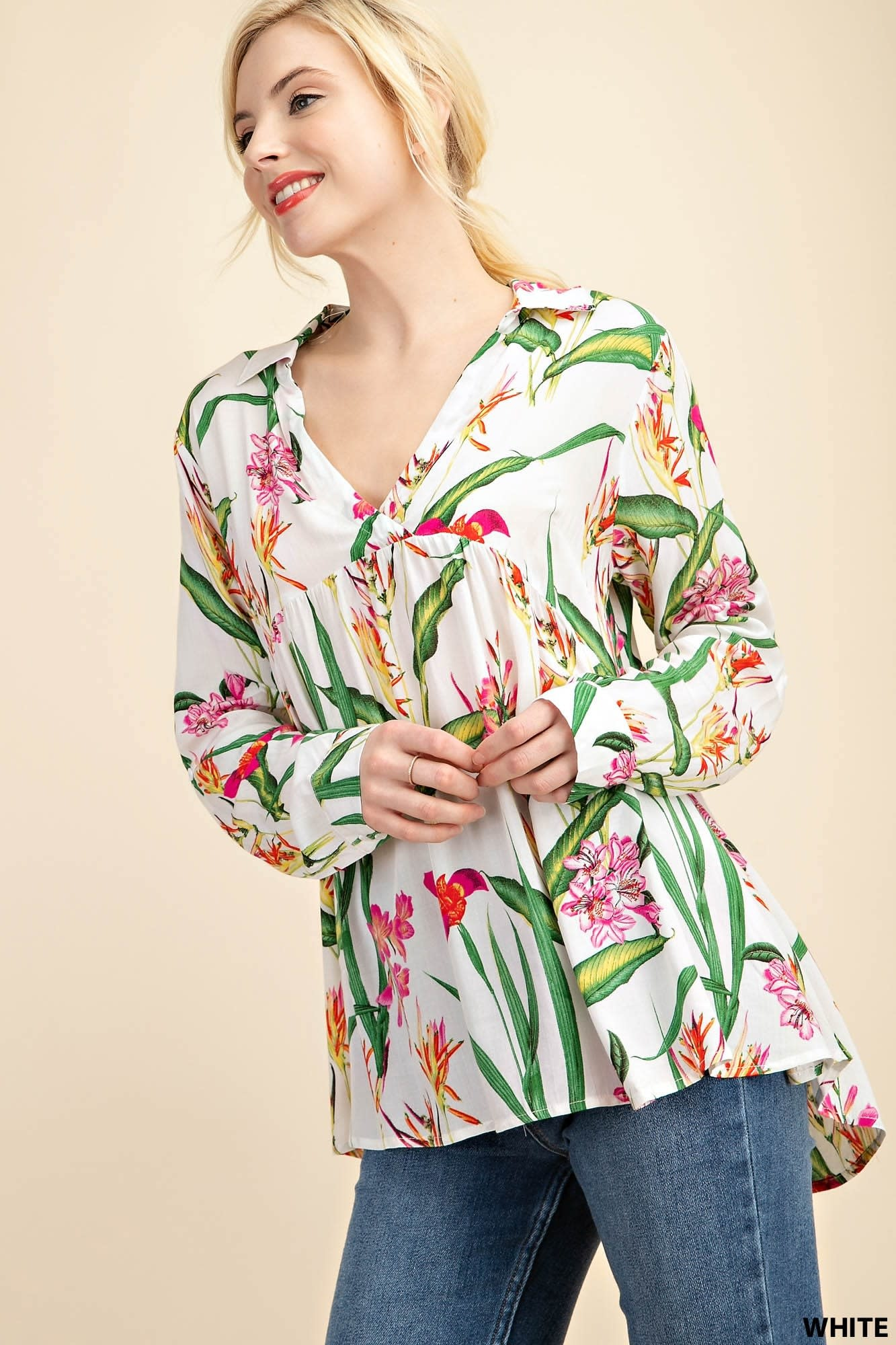 Fleurish Home WHITE FLORAL CHALLI SHIRT NECK TOP *LAST CHANCE