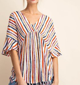 Fleurish Home *last chance* MULTI STRIPE WITH COLORFUL FRINGE BOHO TOP