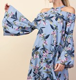 Fleurish Home BLUE COLD SHOULDER BELL SLEEVE DRESS