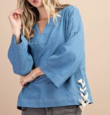 Fleurish Home SIDE TIED CHAMBRAY TOP *LAST CHANCE