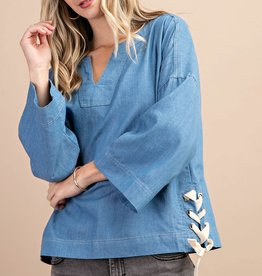 Fleurish Home SIDE TIED CHAMBRAY TOP