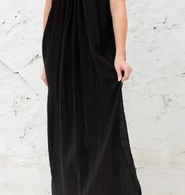 Cobblestone Living Serena Raw Edge Linen Dress Black