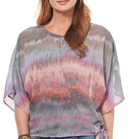 Democracy ELBOW FLARE SLEEVE TIE DYE PRINTED WOVEN TOP W/ TANK