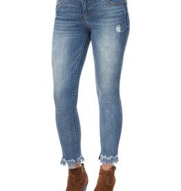 Democracy Luxe Touch Blue Denim Jeans w Chewed Hem