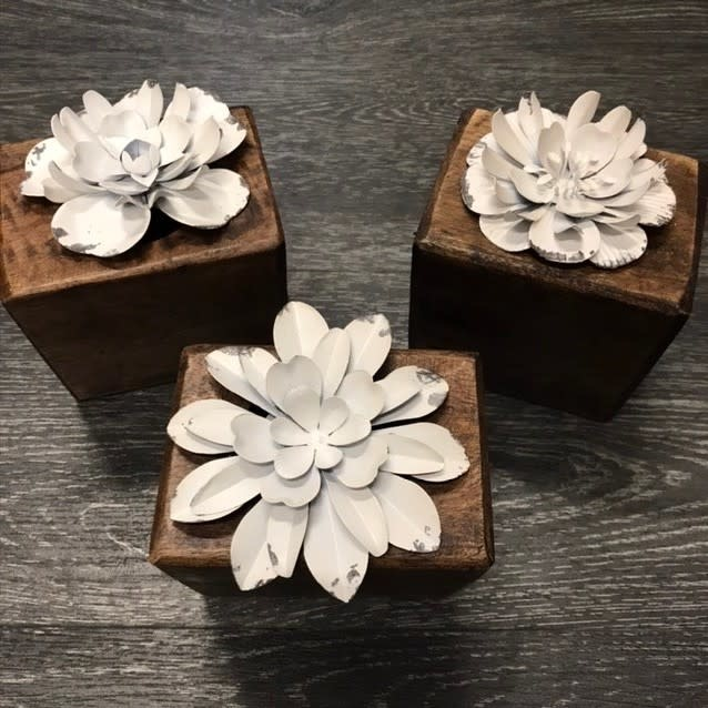 Fleurish Home Small White Metal Flower on Base (choice of 3 styles)