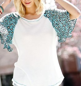 Fleurish Home Mint Animal Print Accented Knit Top