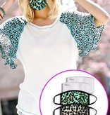 Fleurish Home Mint Green Animal Print Fabric Mask w Filter Pocket (includes 2 filters)