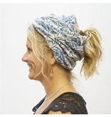 Fleurish Home Multi Functional Palm Leaf Print Fashion Face Mask & Ponytail Beanie