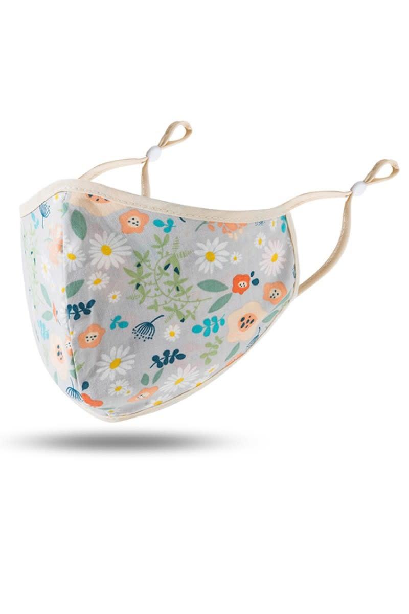 Fleurish Home Grey Floral Fashion Adjustable Mask