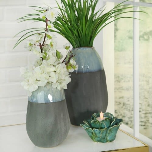 "Fleurish Home CERAMIC 11"" ORGANIC VASE, GRAY"
