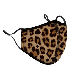 Top Trenz Leopard Print Fashion Mask w Filter Pocket (Tween/Adult Size)