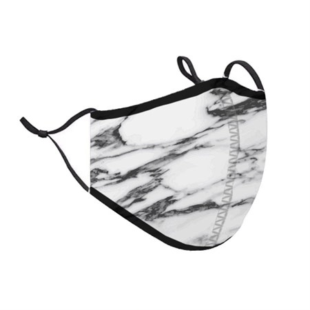 Top Trenz White Marble Print Fashion Mask w Filter Pocket (Tween/Adult Size)
