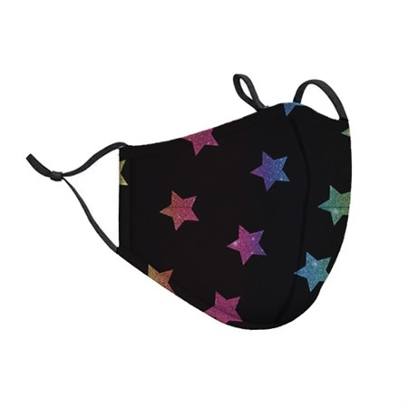 Top Trenz Multi-Colored Stars Fashion Mask w Filter Pocket (Tween/Adult Size)